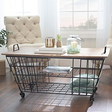 Wire Wood Top Storage Cart Coffee Table | Living Room Options Within Candice Ii Storage Cocktail Tables (View 6 of 40)