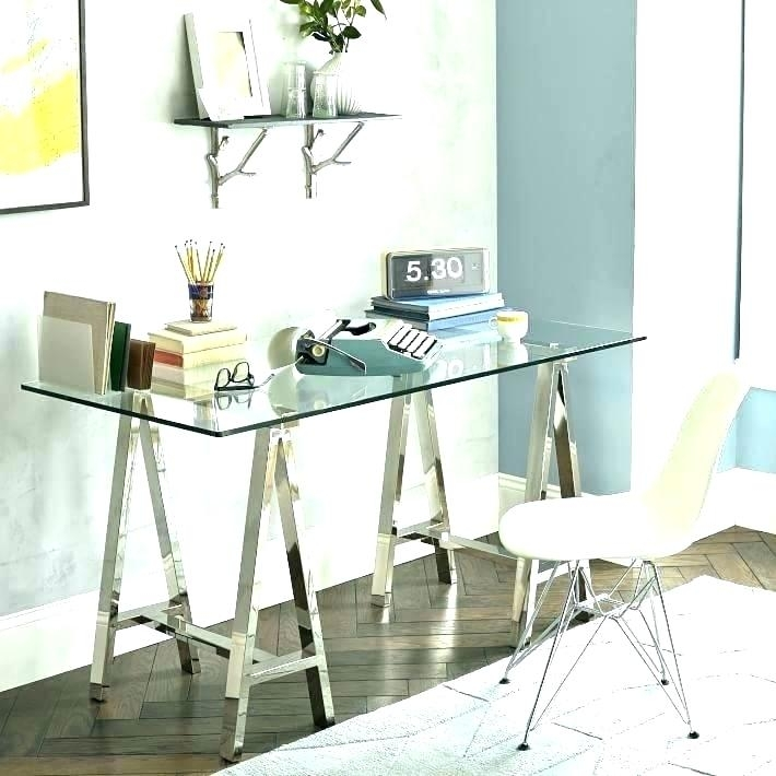 Wisteria Glass Desk Rectangular Brass Finish And Coffee Table Pertaining To Rectangular Brass Finish And Glass Coffee Tables (View 38 of 40)
