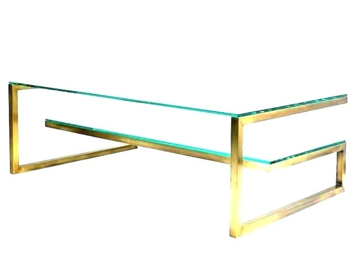 Wisteria Rectangular Brass Finish And Glass Coffee Table Vintage Set Inside Rectangular Brass Finish And Glass Coffee Tables (View 9 of 40)