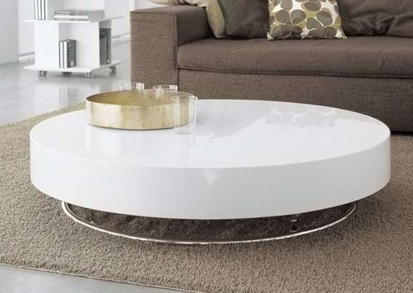 Wonderful Round White Coffee Table Contemporary White Round Glass With Regard To Shroom Large Coffee Tables (View 7 of 40)