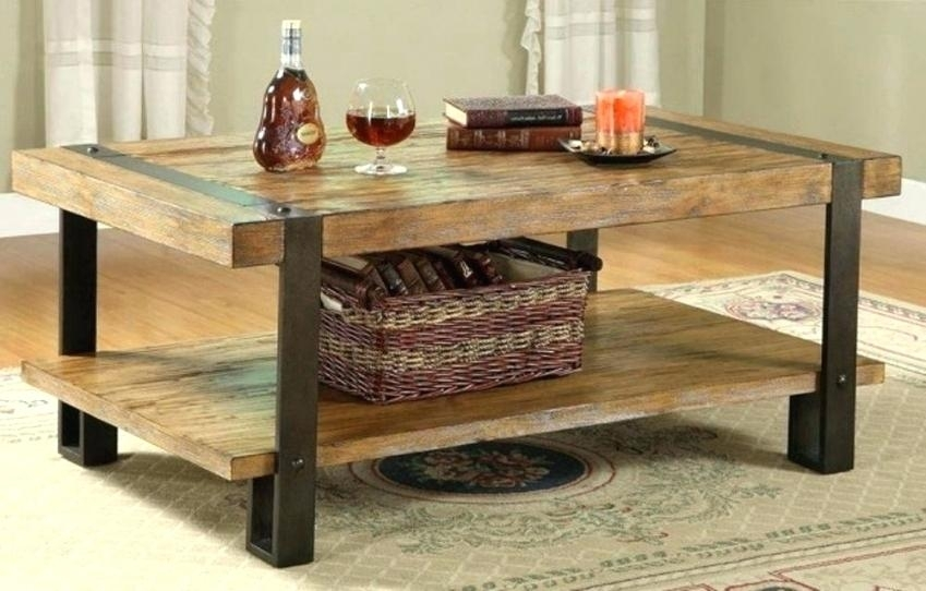Wood And Metal Coffee Table – Mathphreak Inside Iron Wood Coffee Tables With Wheels (View 35 of 40)