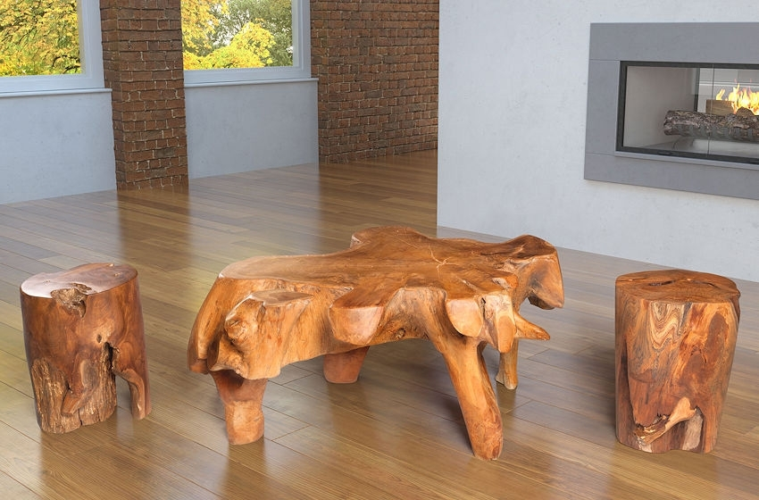 Wood Coffee Table Brings Part Of Nature Into Your Décor. (Image 32 of 40)