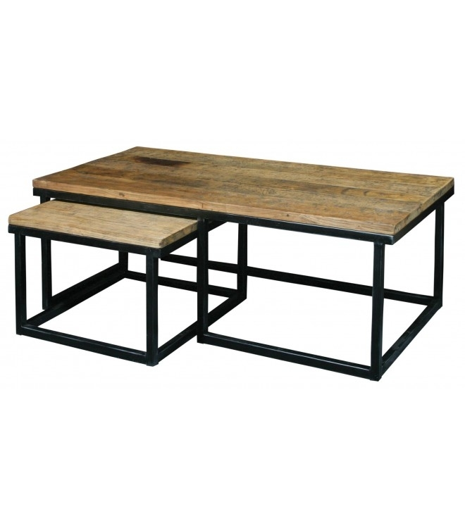Wood & Iron 2 Piece Reclaimed Elm Coffee Table With Reclaimed Elm Iron Coffee Tables (View 21 of 40)