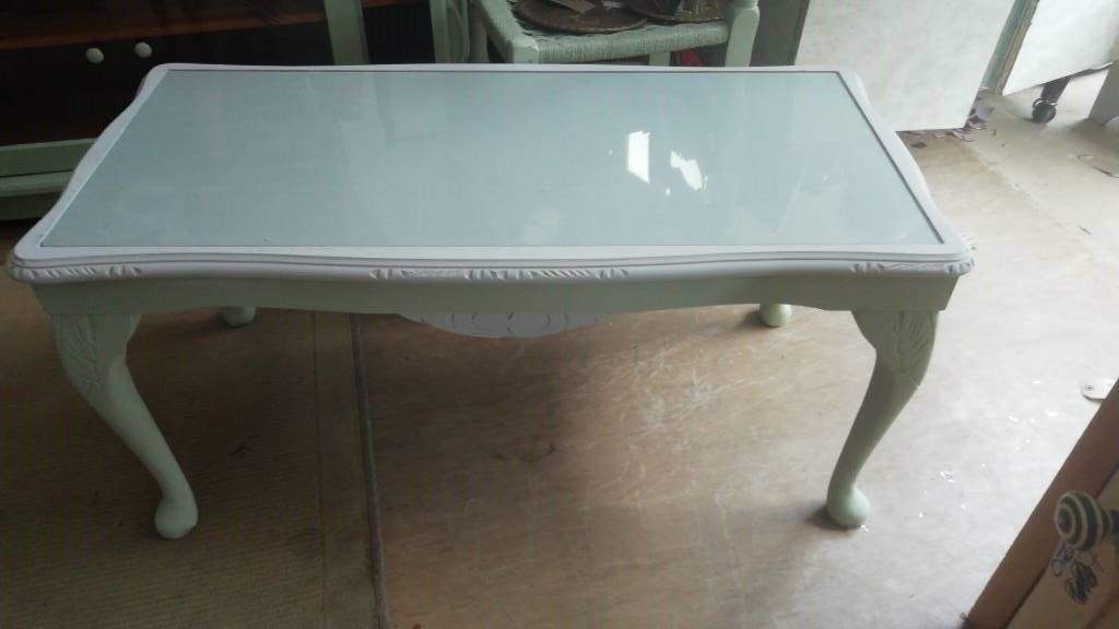 Wooden Coffee Table Painted And Waxed, Glass Top, Great Condition With Regard To Waxed Metal Coffee Tables (Image 40 of 40)
