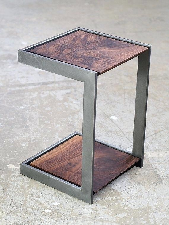 Wooden Metal Table Suspended Wood And Metal End Table Modernwood In Suspend Ii Marble And Wood Coffee Tables (View 14 of 40)