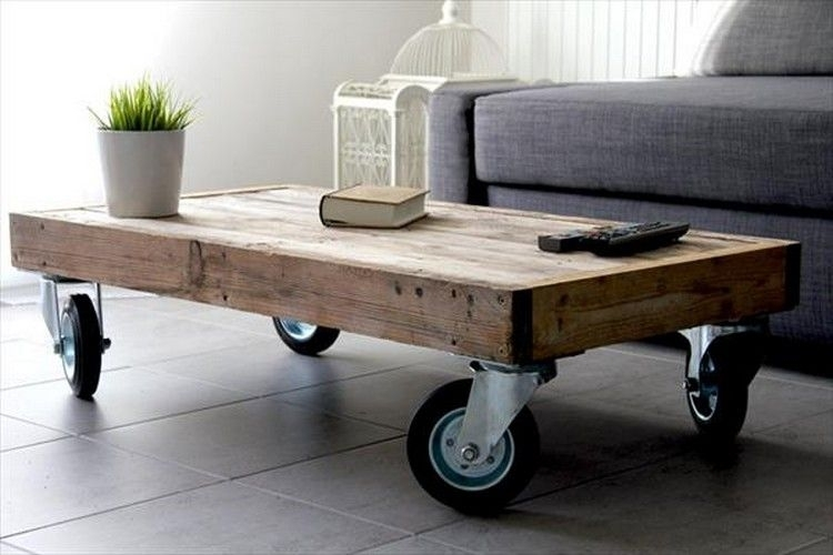 Wooden Pallet Coffee Table On Wheels | Inspiring Ideas In 2018 Intended For Iron Wood Coffee Tables With Wheels (View 17 of 40)