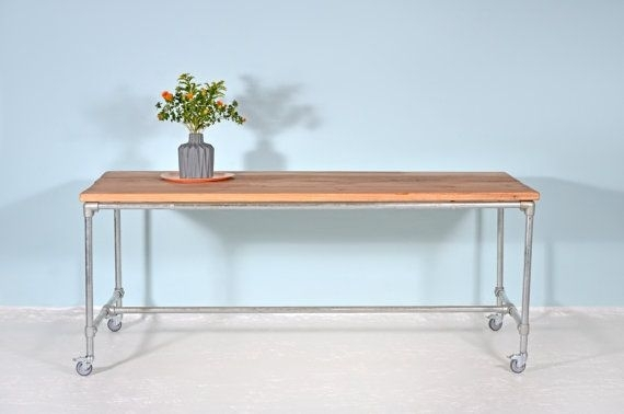 Working Table From Lumber & Scaffold Tube Mijnstreek | Scaffold Tube Intended For Pine Metal Tube Coffee Tables (Image 40 of 40)