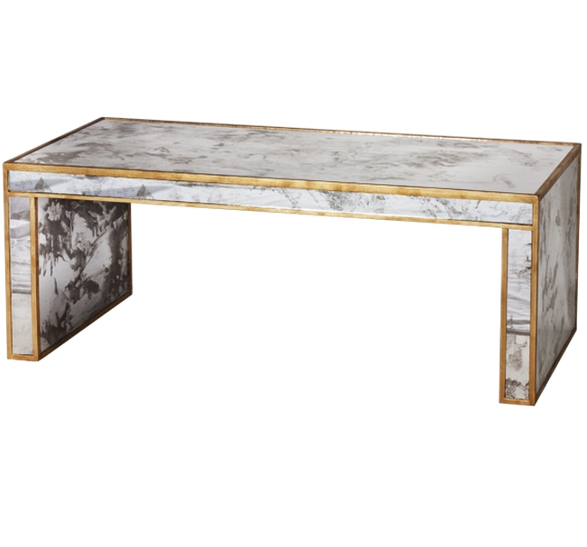 Worlds Away Parsons Mirrored Gold Coffee Table | Matthew Izzo For Gold Leaf Collection Coffee Tables (Image 40 of 40)