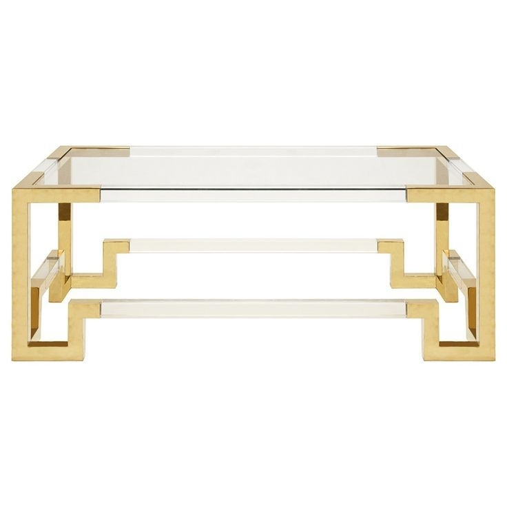Worlds Away Rectangular Acrylic Coffee Table – Brass | Acrylic Home Regarding Acrylic Glass And Brass Coffee Tables (View 5 of 40)