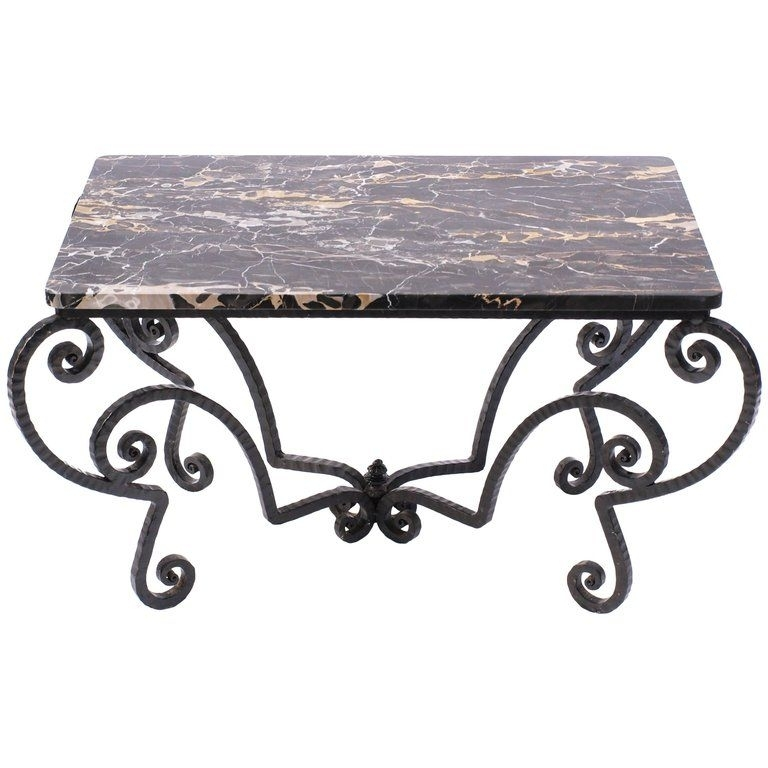 Wrought Iron And Black Portoro Marble Coffee Table | The Kairos Intended For Iron Marble Coffee Tables (View 37 of 40)