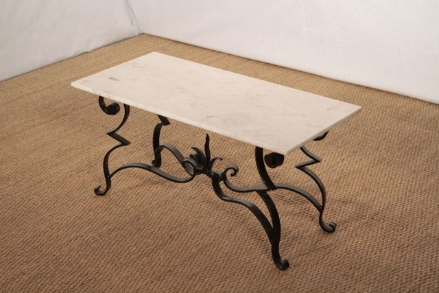 Wrought Iron And Marble Coffee Table For Sale At Pamono Pertaining To Iron Marble Coffee Tables (Image 40 of 40)
