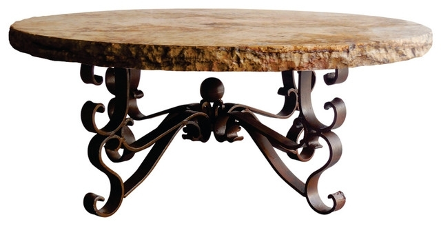 "Wrought Iron Coffee Table 48"" Round Travertine Marble W/ Chiseled For Chiseled Edge Coffee Tables (View 15 of 40)"