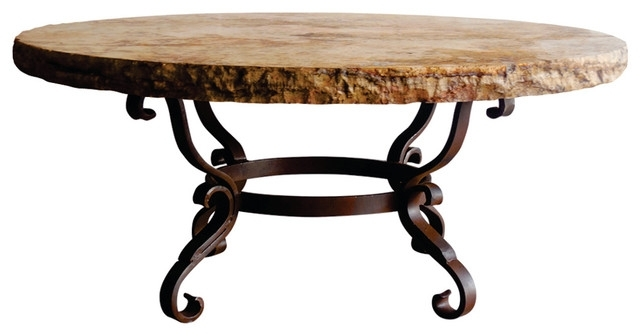 "Wrought Iron Coffee Table 48"" Round Travertine Marble W/ Chiseled Intended For Chiseled Edge Coffee Tables (View 13 of 40)"