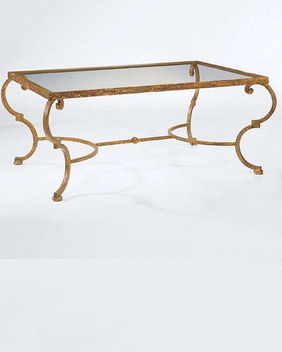 Wrought Iron In Gold Leaf Coffee Table Pertaining To Rectangular Brass Finish And Glass Coffee Tables (View 28 of 40)