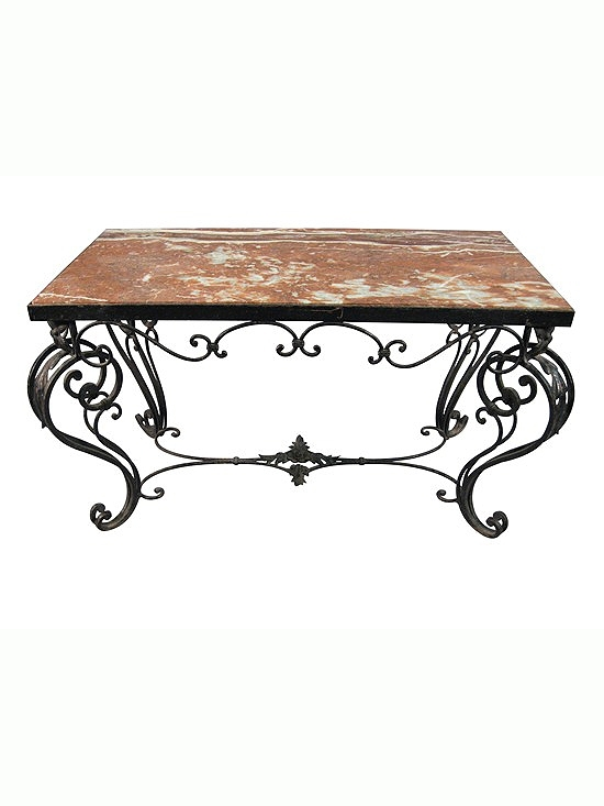 Wrought Iron & Marble Coffee Table With Scroll Designs, 20Th Century Within Iron Marble Coffee Tables (View 7 of 40)