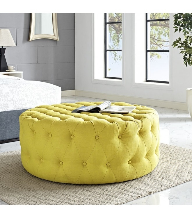 Yellow Fabric All Over Button Tufted Round Ottoman Coffee Table Pertaining To Round Button Tufted Coffee Tables (Photo 24 of 40)