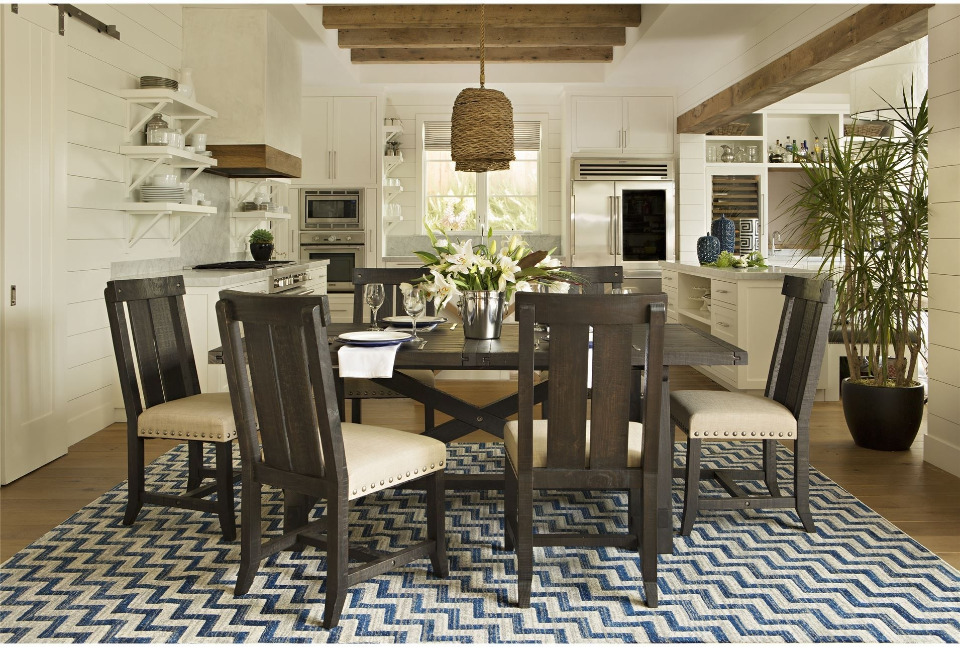 142 Best Dining Rooms Images On Pinterest In 2018 | Buffet, Diners Regarding Most Up To Date Weaver Dark 7 Piece Dining Sets With Alexa White Side Chairs (Image 2 of 20)