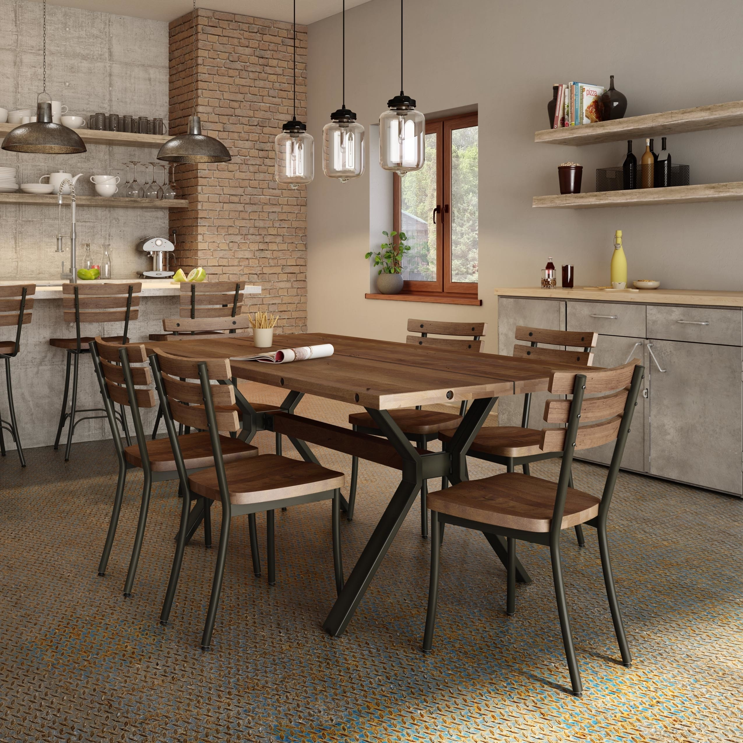 17 Stories Darcelle 5 Piece Industrial Dining Set | Wayfair Within Newest Laurent 5 Piece Round Dining Sets With Wood Chairs (View 10 of 20)