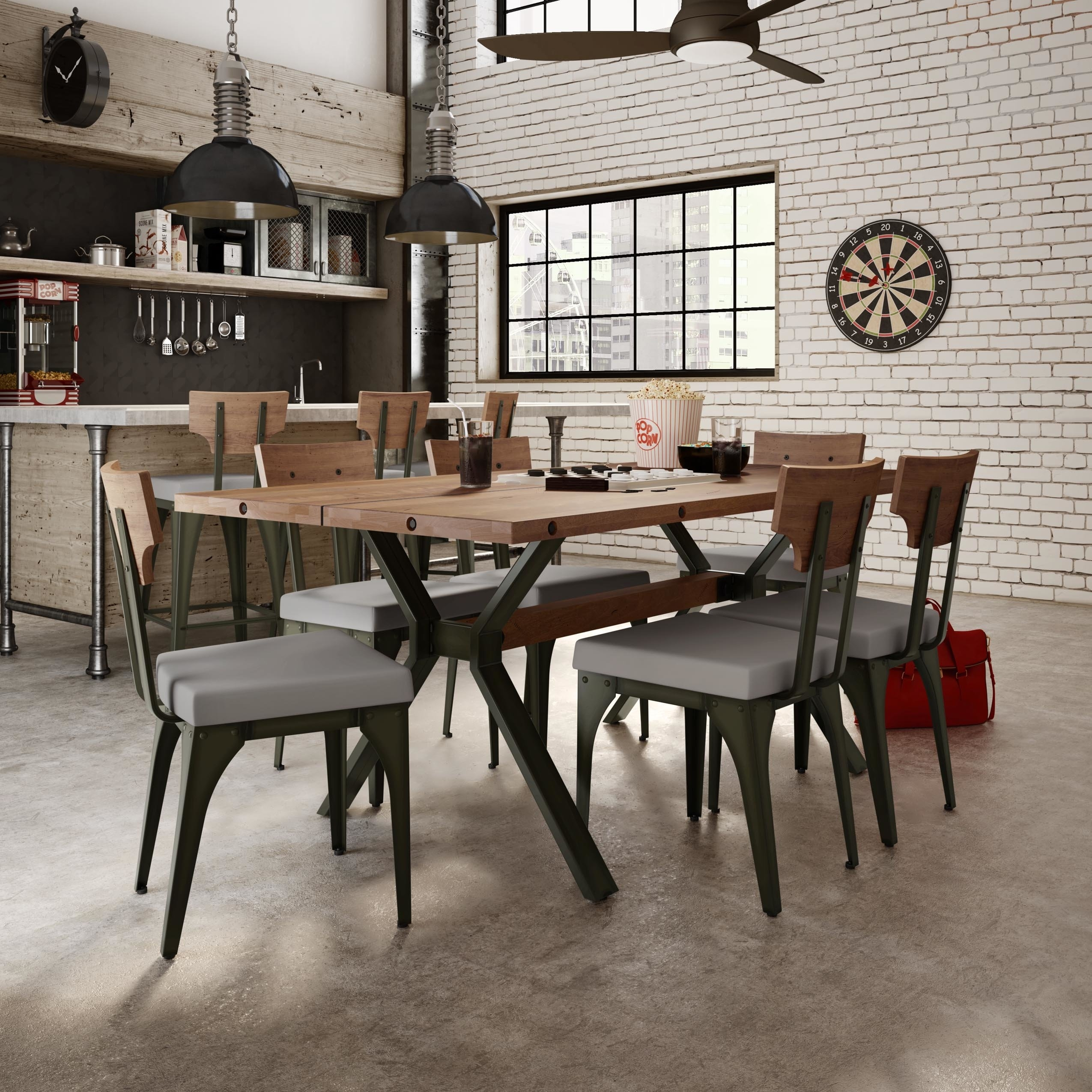 17 Stories Darcelle 7 Piece Industrial Dining Set | Wayfair Inside Most Up To Date Laurent 5 Piece Round Dining Sets With Wood Chairs (View 14 of 20)