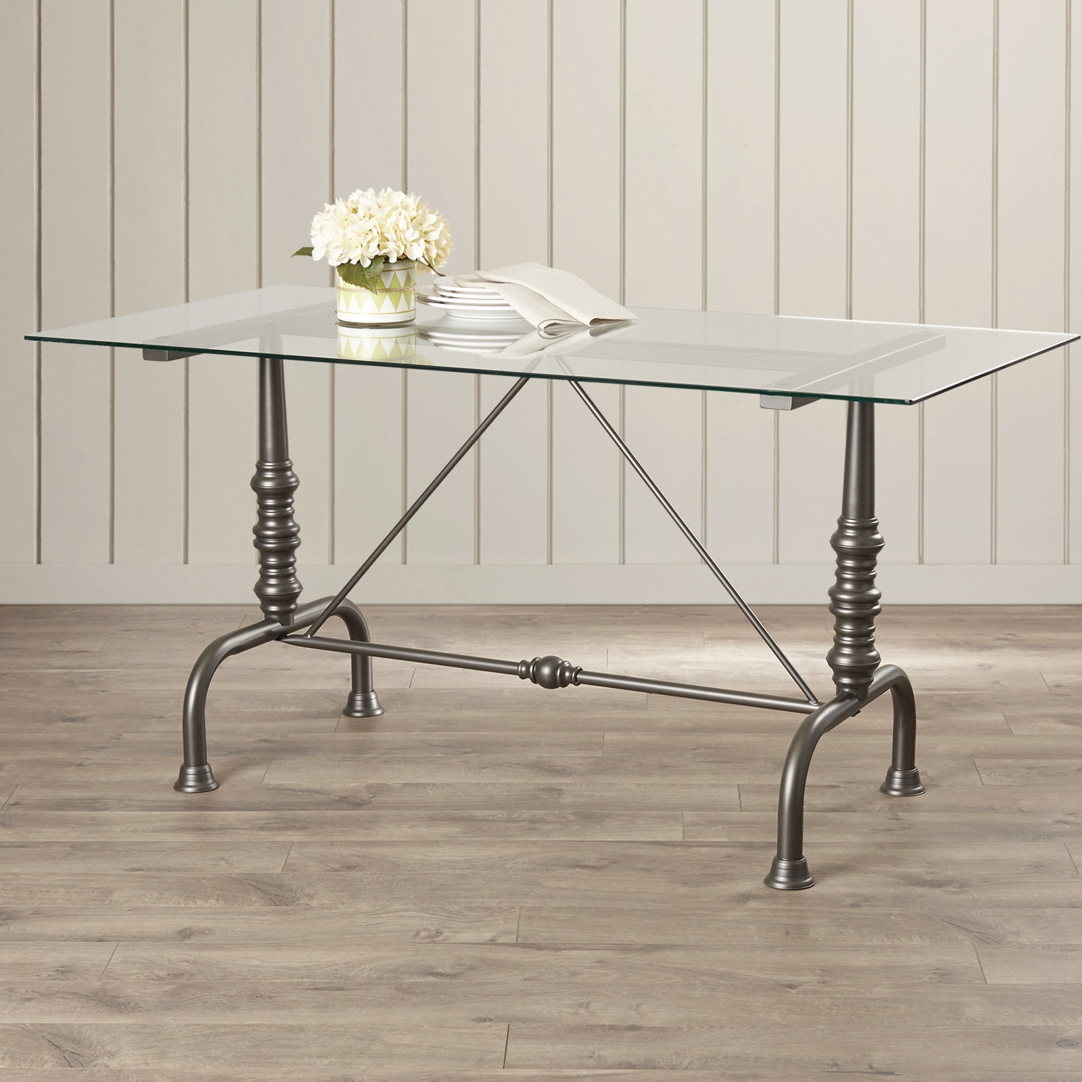 17 Stories Shaun Dining Table & Reviews | Wayfair Regarding Most Recently Released Ina Pewter 60 Inch Counter Tables With Frosted Glass (View 3 of 20)