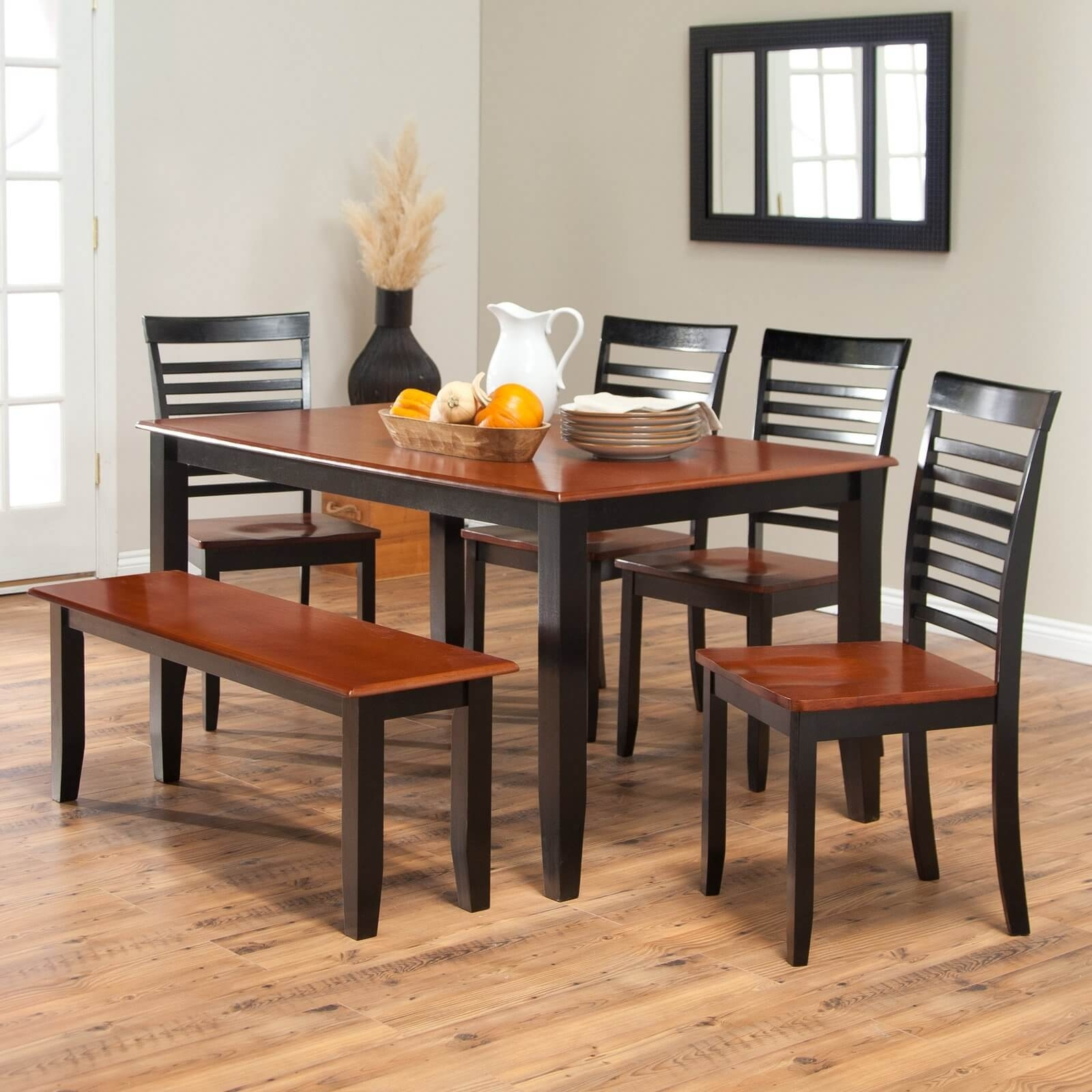 26 Dining Room Sets (Big And Small) With Bench Seating (2018) For Most Up To Date Craftsman 5 Piece Round Dining Sets With Uph Side Chairs (Image 1 of 20)