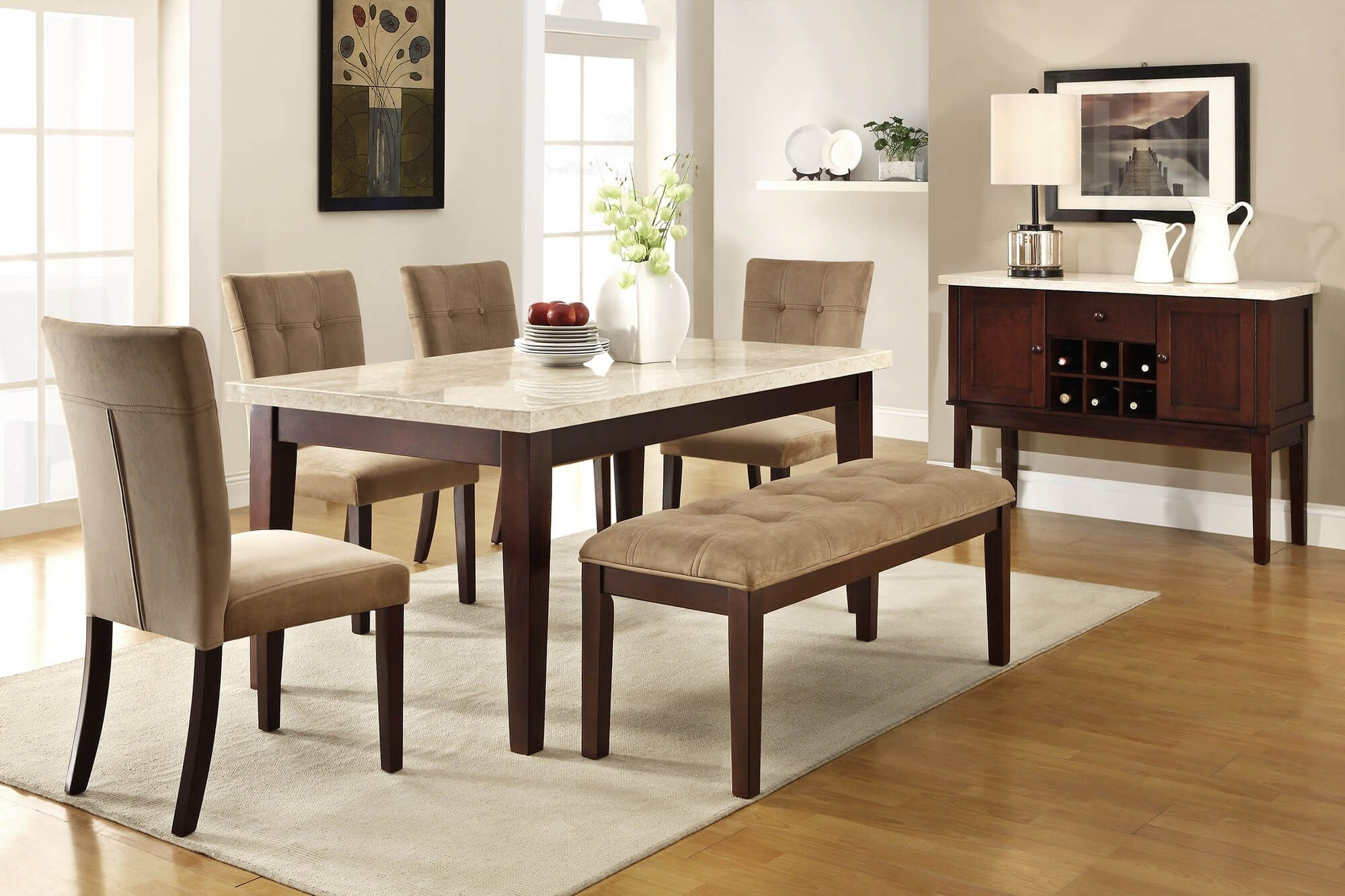 26 Dining Room Sets (Big And Small) With Bench Seating (2018) | Home In Most Up To Date Palazzo 7 Piece Dining Sets With Pearson White Side Chairs (Image 2 of 20)