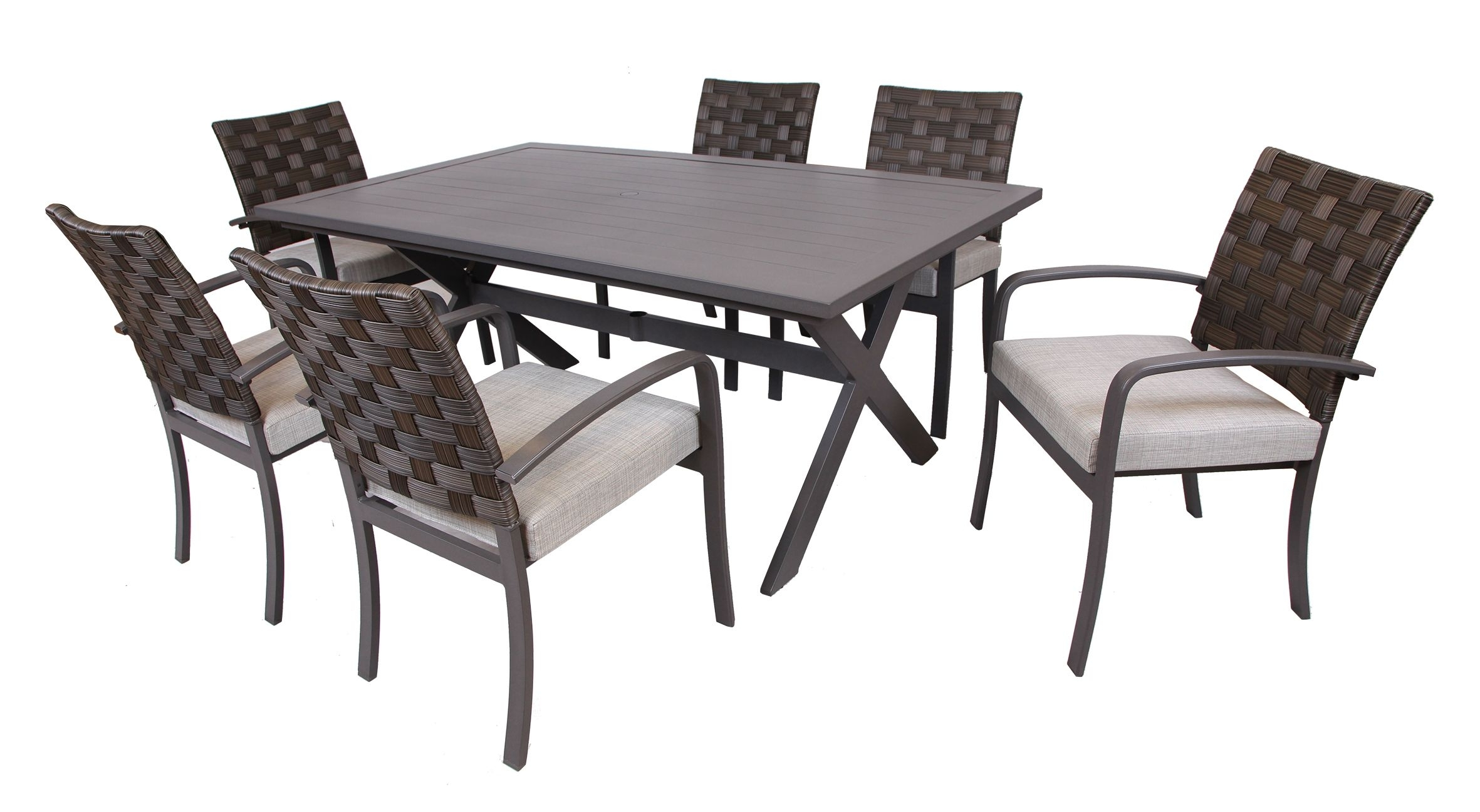 3I Northtown 7 Pc. Dining Set – Bj's Wholesale Club | Outdoor Living Within Latest Laurent 7 Piece Rectangle Dining Sets With Wood And Host Chairs (Photo 6 of 20)