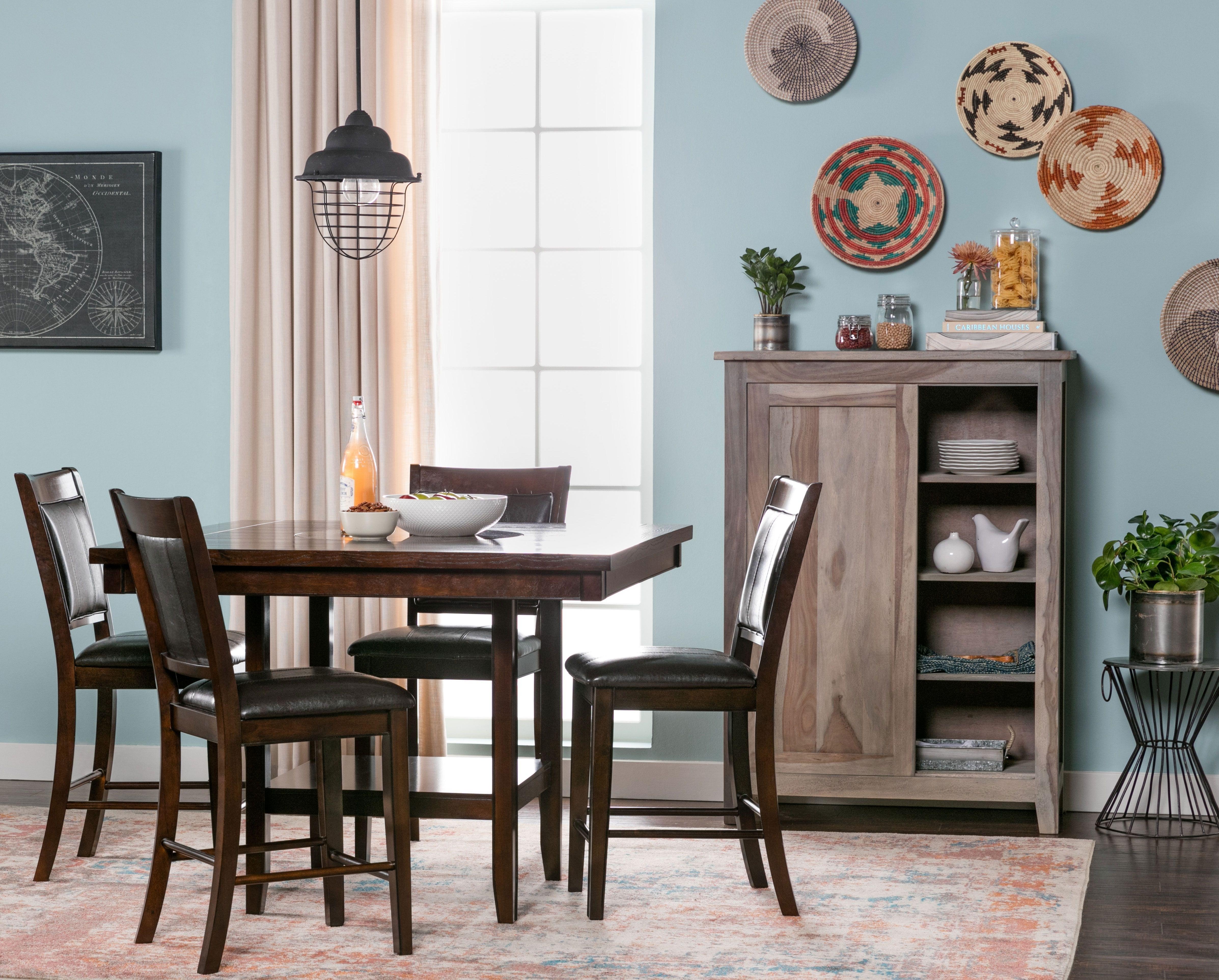 5 Piece Counter Set, Harper, Espresso, Kitchen & Dining Furniture For Current Harper 5 Piece Counter Sets (Image 1 of 20)