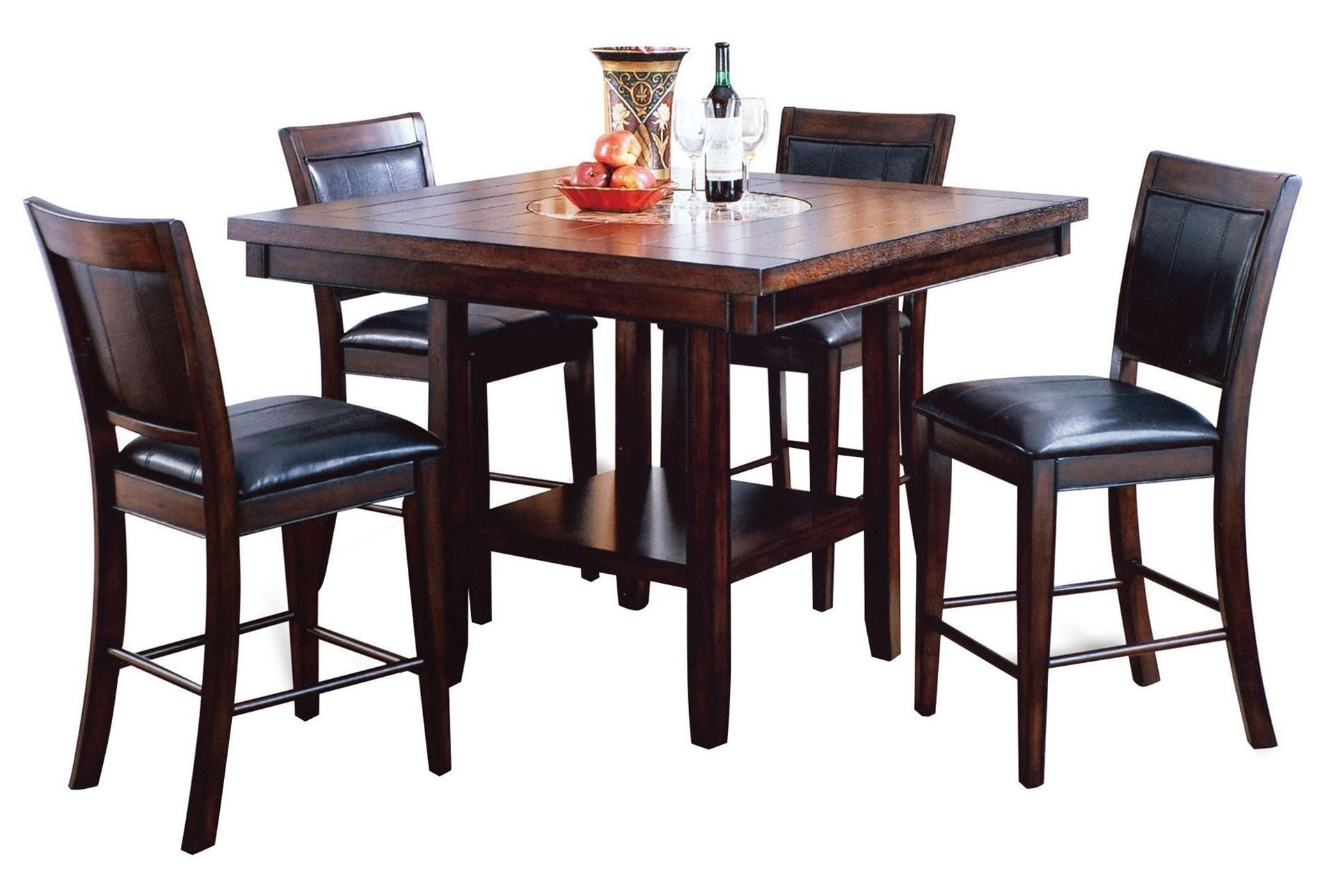 5 Piece Counter Set, Harper, Espresso, Kitchen & Dining Furniture Pertaining To Recent Harper 5 Piece Counter Sets (Image 2 of 20)