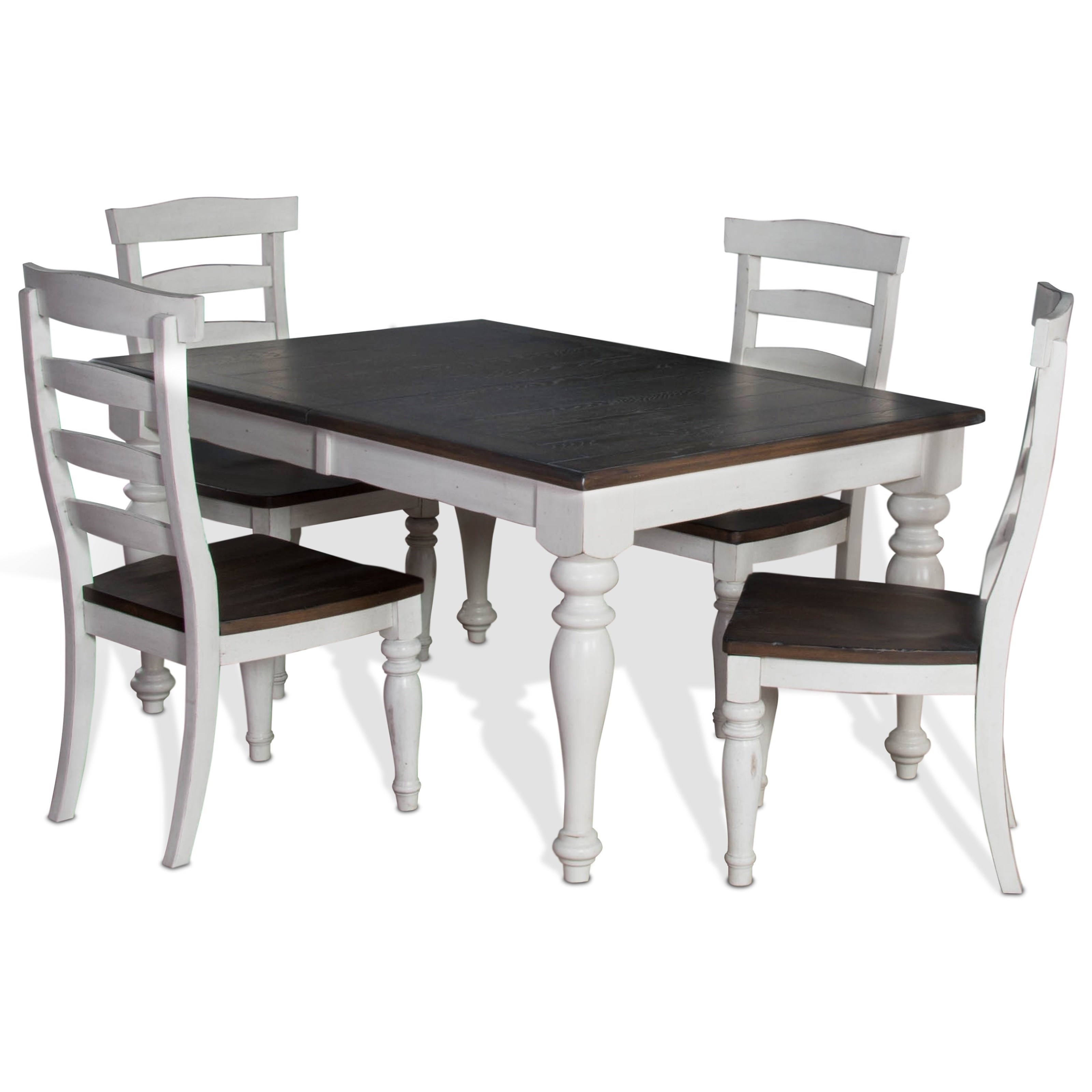 5 Piece Extension Dining Table Set With Ladderback Chairssunny Regarding Most Current Craftsman 7 Piece Rectangle Extension Dining Sets With Uph Side Chairs (Image 1 of 20)