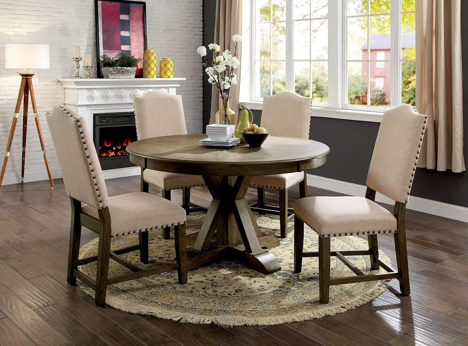 5 Piece Julia Round Dining Set Light Oak Finish – Usa Warehouse In Most Up To Date Valencia 5 Piece Round Dining Sets With Uph Seat Side Chairs (Image 3 of 20)