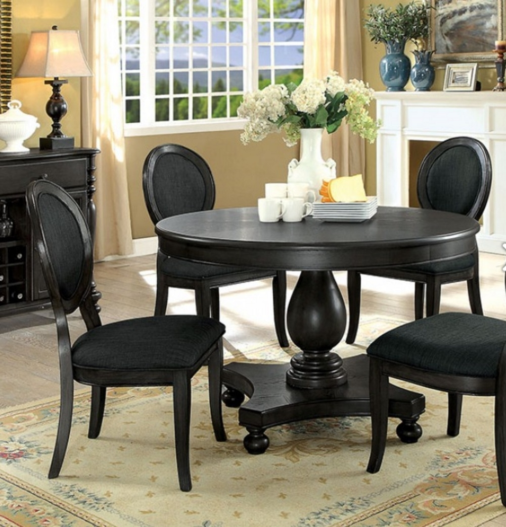 5 Piece Kathryn Dark Gray Round Dining Set – Usa Warehouse Furniture Inside Most Recent Valencia 5 Piece Round Dining Sets With Uph Seat Side Chairs (Image 4 of 20)
