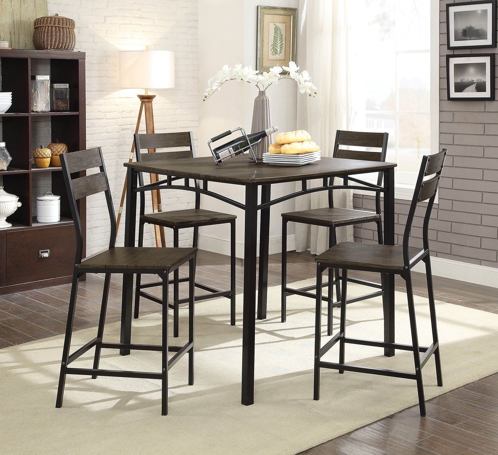 5 Piece Metal And Wood Counter Height Table Set In Antique Brown In In Recent Market 5 Piece Counter Sets (Image 4 of 20)