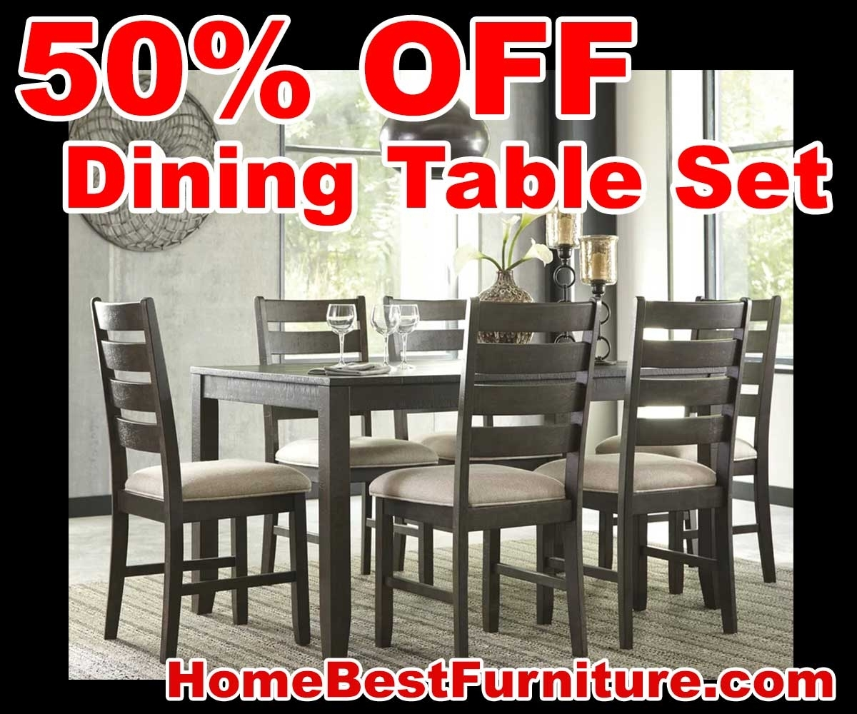 50 Percent Off Discount Ashley Rokane 7 Piece Dining Set Reviews Inside Most Recently Released Caira 9 Piece Extension Dining Sets (Image 2 of 20)