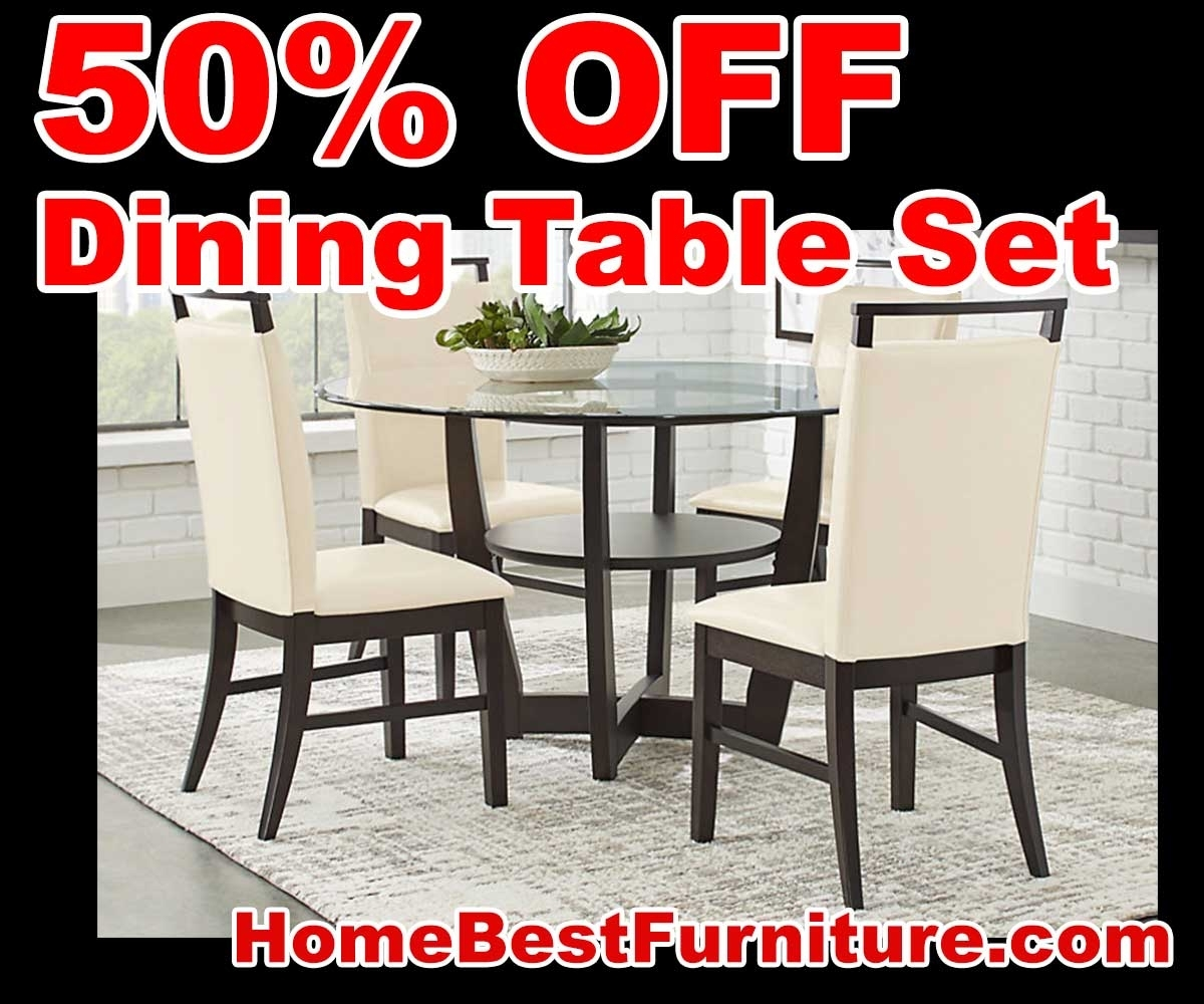 50 Percent Off Discount Ciara Espresso 5 Pc Dining Table Set Reviews Regarding Current Caira Black 5 Piece Round Dining Sets With Upholstered Side Chairs (Image 2 of 20)