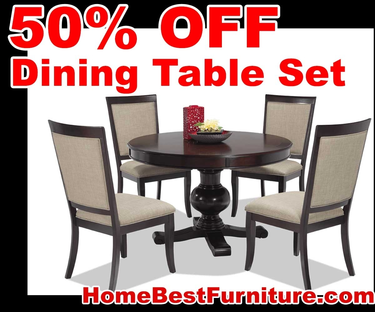 50 Percent Off Discount Gatsby Round 5 Piece Dining Set With Side With Regard To 2018 Caira Black 5 Piece Round Dining Sets With Upholstered Side Chairs (Image 3 of 20)
