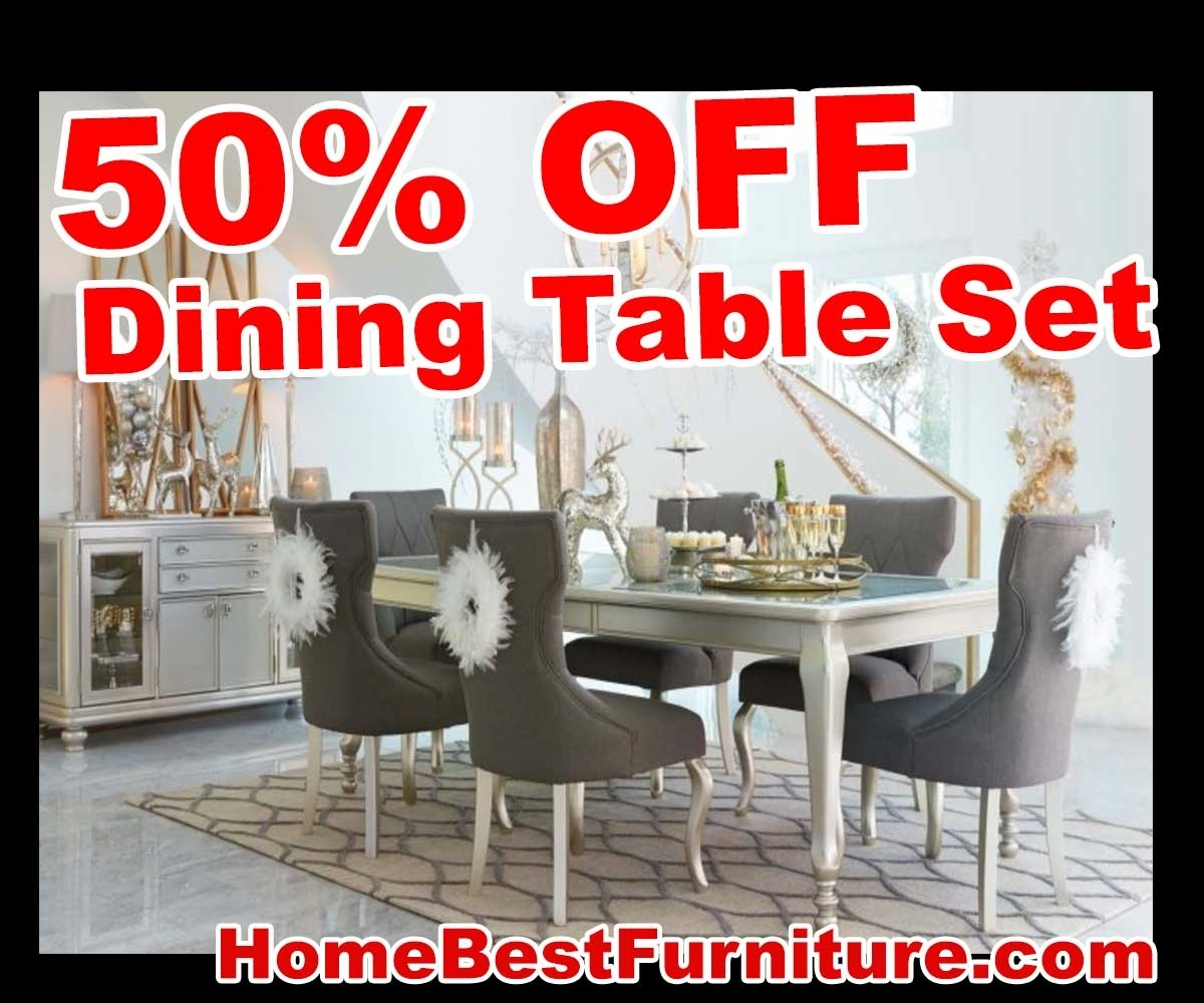 50 Percent Off Discount Silver Coralayne 5 Piece Dining Room Sets Regarding Most Recent Cora 7 Piece Dining Sets (Image 2 of 20)