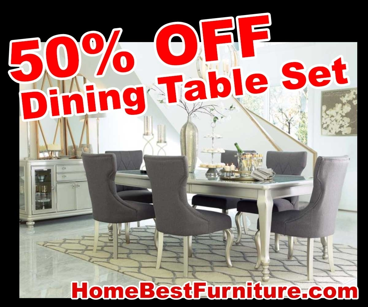 50 Percent Off Discount Silver Coralayne 5 Piece Dining Room Sets With Most Recent Cora 5 Piece Dining Sets (Photo 14 of 20)