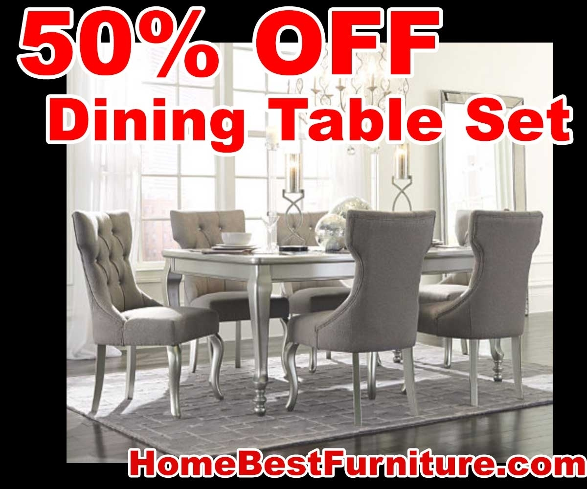 50 Percent Off Discount Silver Coralayne 5 Piece Dining Room Sets With Newest Cora 5 Piece Dining Sets (Image 9 of 20)