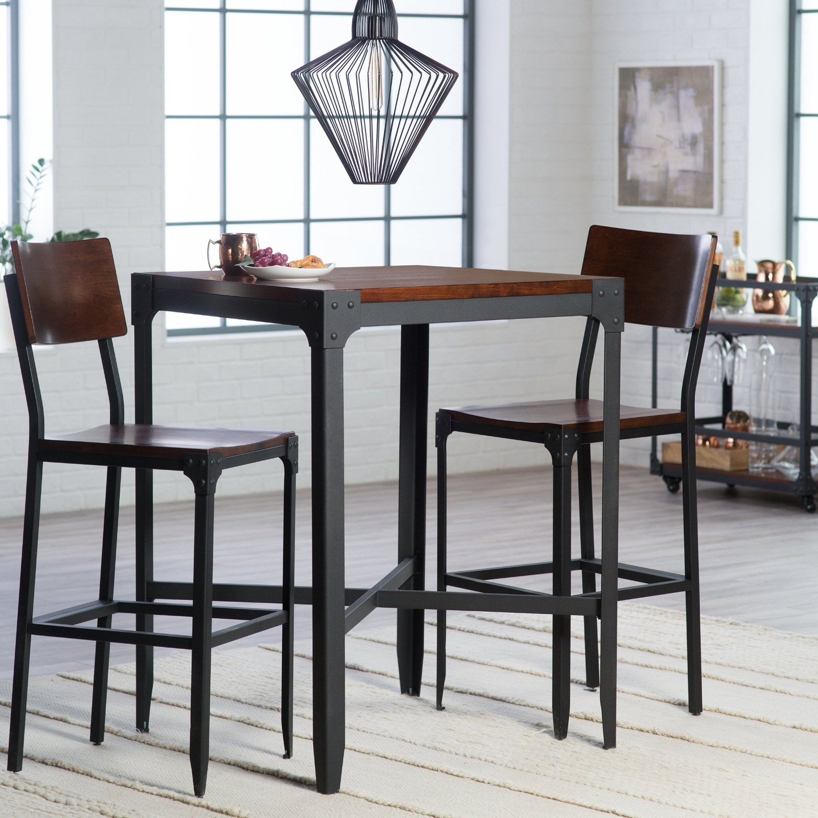 54 Bar Height Pub Table Sets, Kitchen Enchanting Bar Height Kitchen Pertaining To Latest Palazzo 3 Piece Dining Table Sets (Image 3 of 20)
