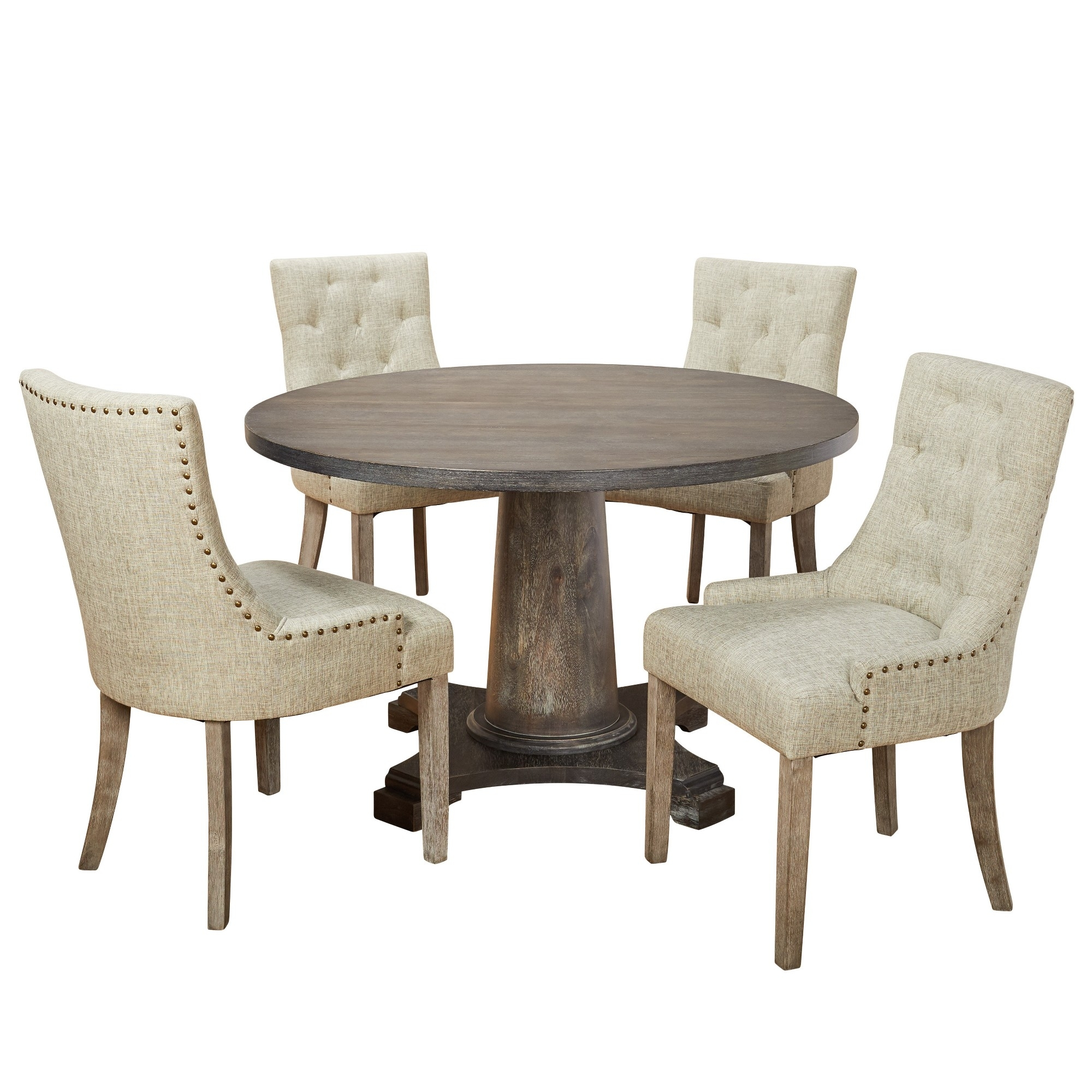 5Pc Ariane Dining Set – Gray – Angelo:home Pertaining To Most Current Caden 5 Piece Round Dining Sets With Upholstered Side Chairs (View 9 of 20)