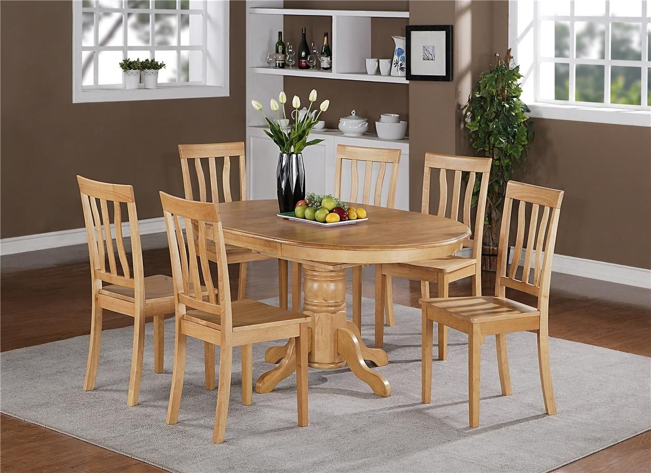 5Pc Oval Dinette Kitchen Dining Set Table With 4 Wood Seat Chairs In Intended For Latest Candice Ii 5 Piece Round Dining Sets With Slat Back Side Chairs (Image 1 of 20)