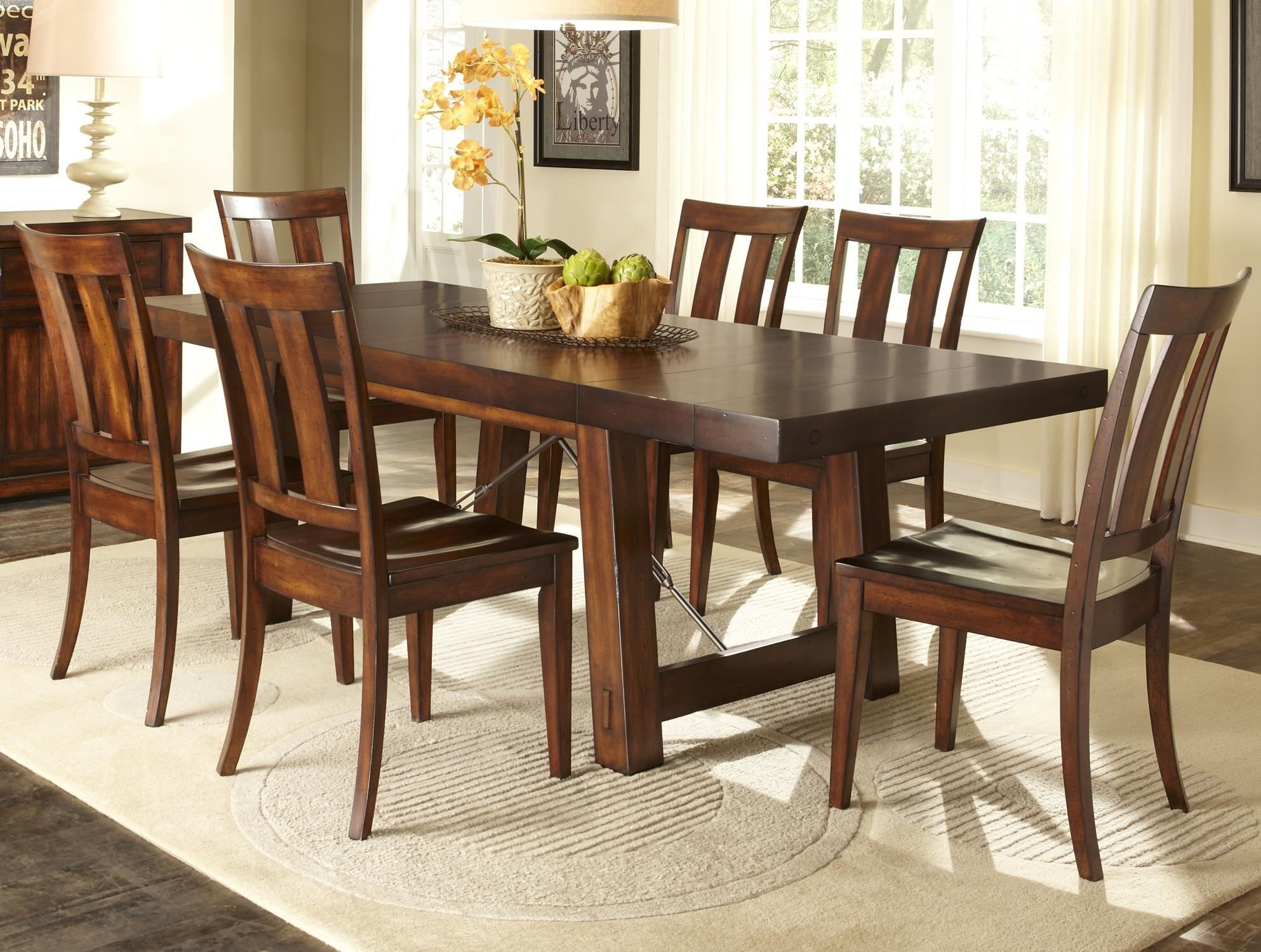 7 Piece Dining Room Set | Design Builders Throughout Most Popular Jaxon 7 Piece Rectangle Dining Sets With Upholstered Chairs (Image 3 of 20)