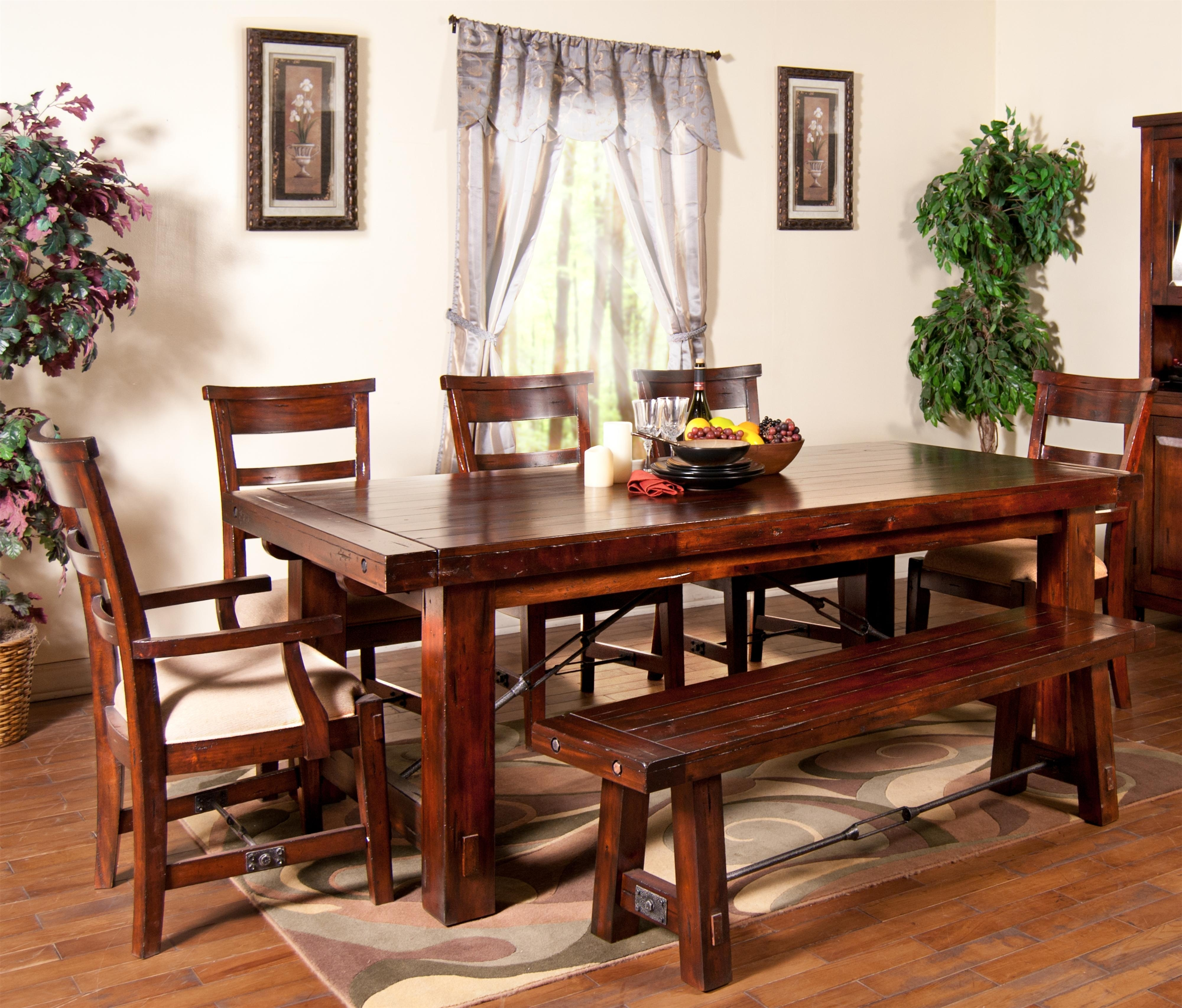 7 Piece Extension Table With Chairs And Bench Setsunny Designs Inside Most Recent Craftsman 7 Piece Rectangle Extension Dining Sets With Side Chairs (Image 2 of 20)