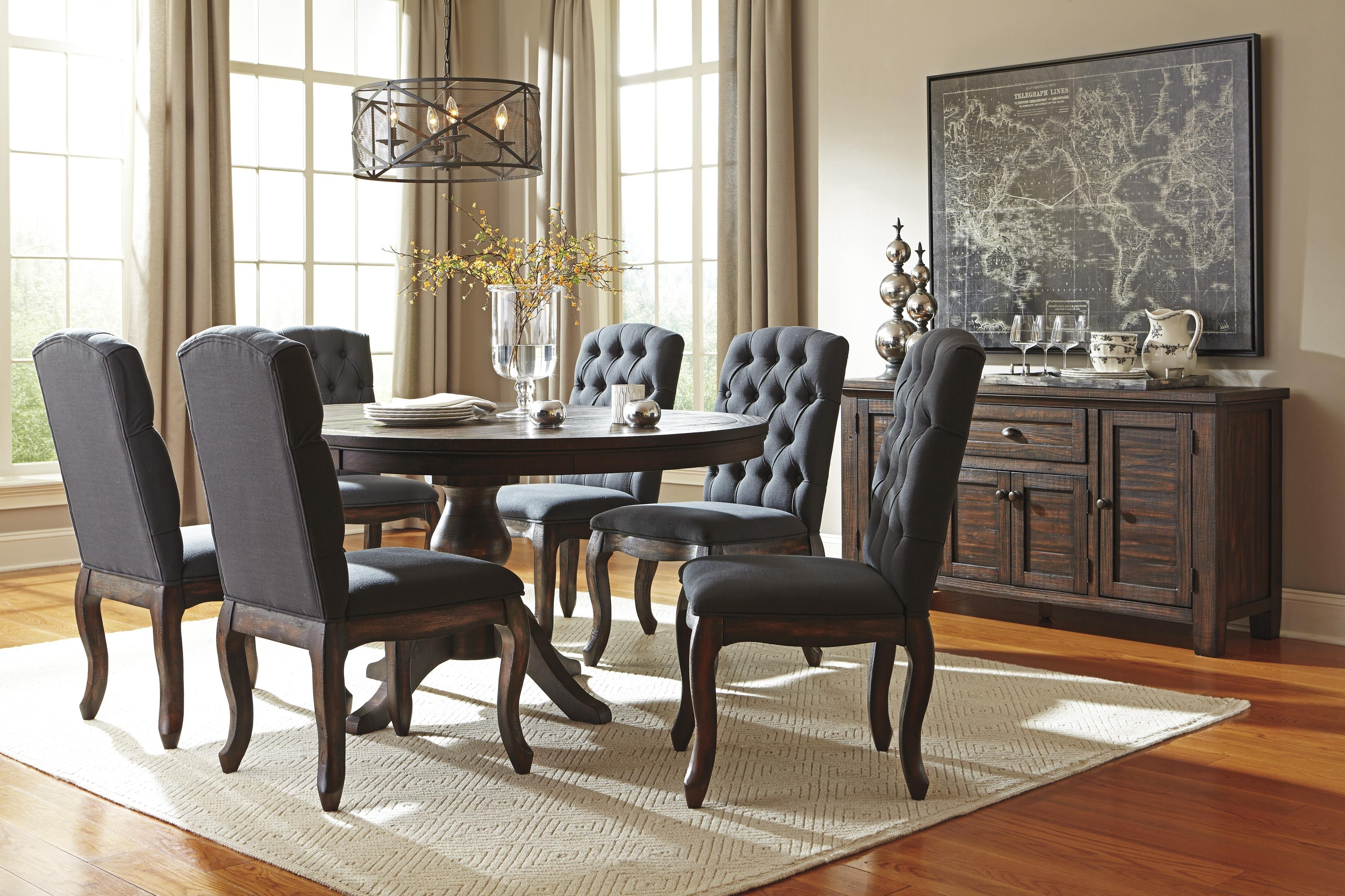 7 Piece Oval Dining Table Set With Upholstered Side Chairs Inside Recent Craftsman 9 Piece Extension Dining Sets With Uph Side Chairs (View 7 of 20)
