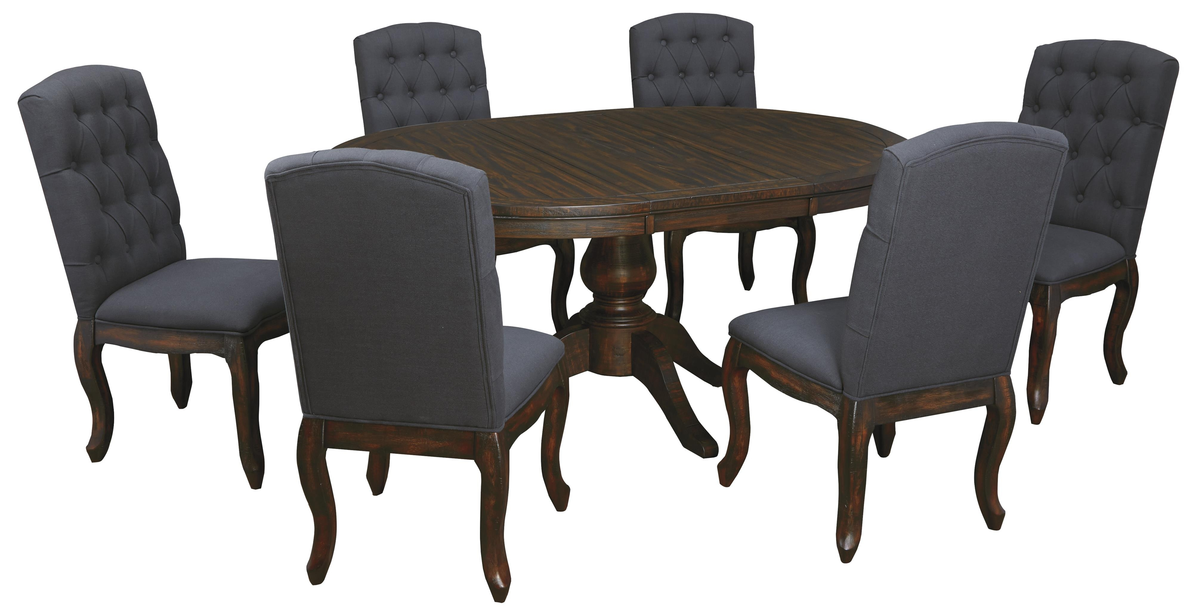 7 Piece Oval Dining Table Set With Upholstered Side Chairs Within 2017 Craftsman 9 Piece Extension Dining Sets With Uph Side Chairs (Photo 18 of 20)