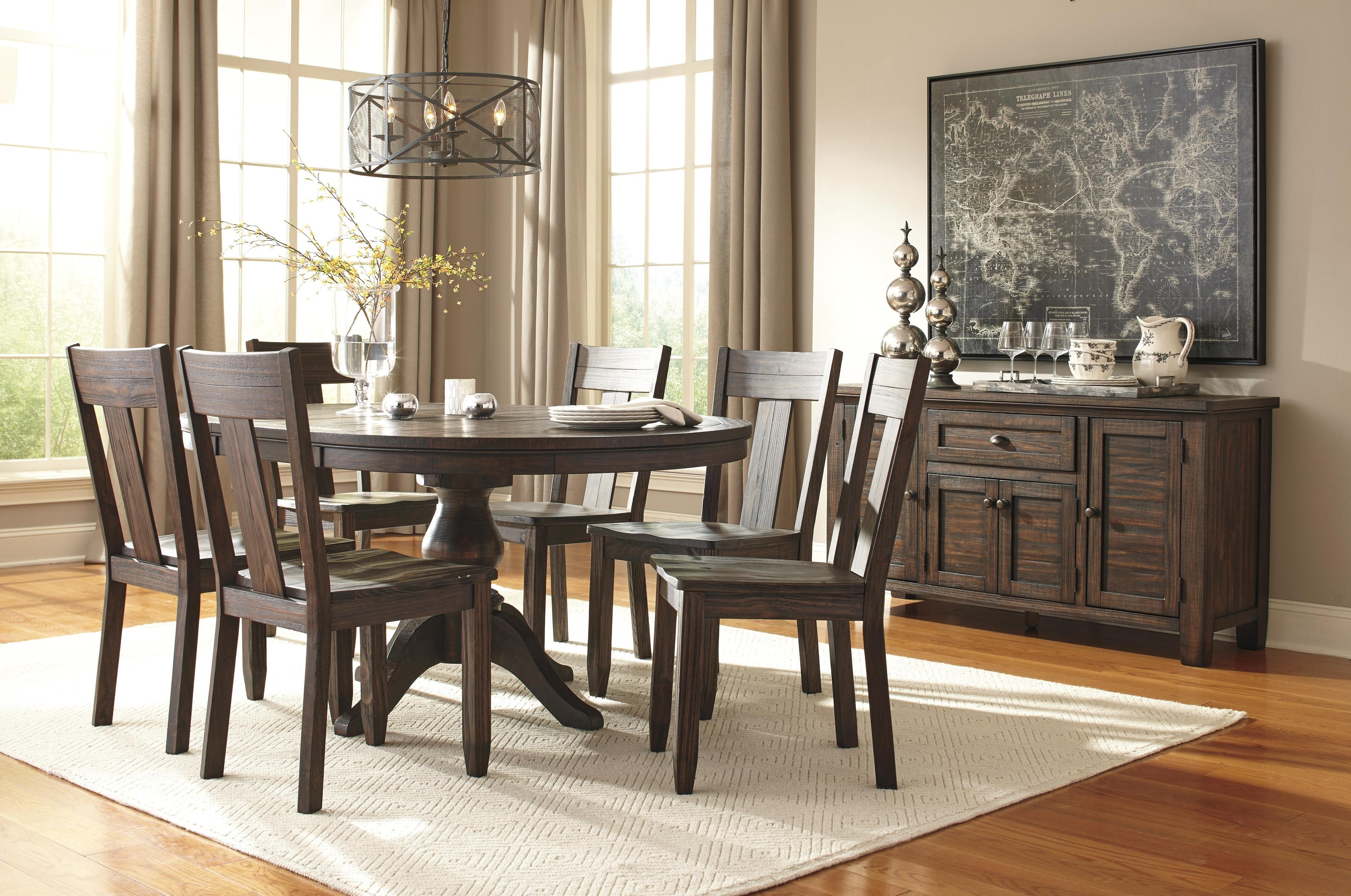 7 Piece Oval Dining Table Set With Wood Seat Side Chairs With Most Up To Date Craftsman 7 Piece Rectangle Extension Dining Sets With Side Chairs (Image 3 of 20)