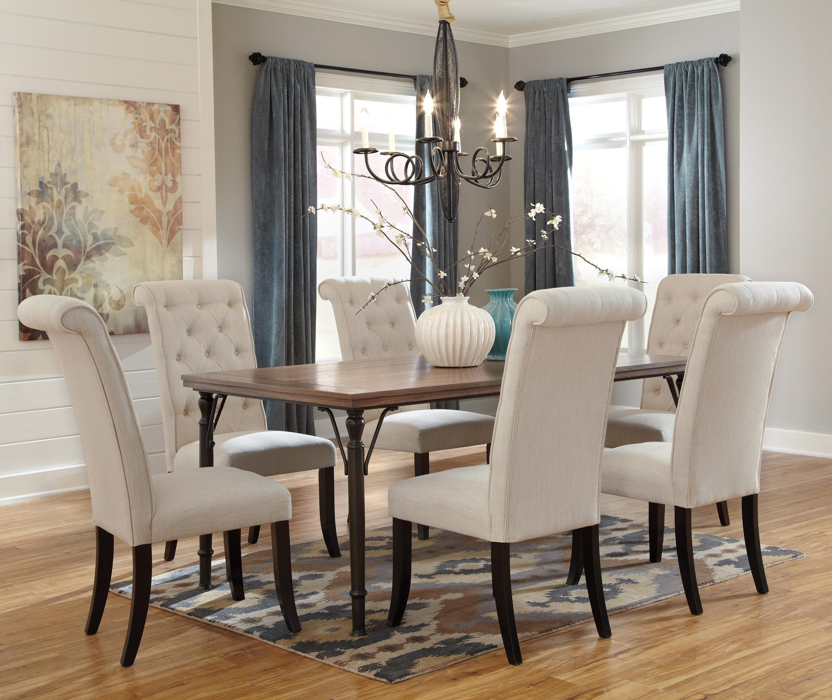 7 Piece Rectangular Dining Room Table Set W/ Wood Top & Metal Legs With 2017 Parquet 6 Piece Dining Sets (Image 1 of 20)