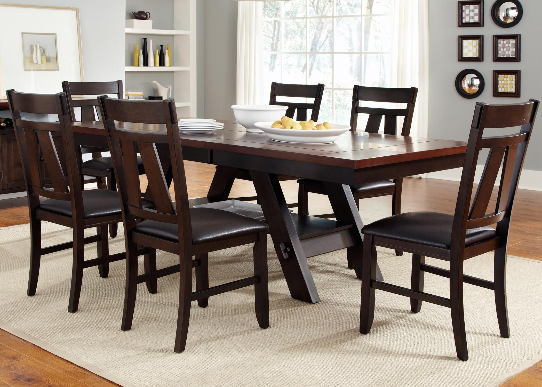 7 Piece Rectangular Trestle Table And Splat Back Chairs Set In Most Popular Parquet 7 Piece Dining Sets (View 13 of 20)