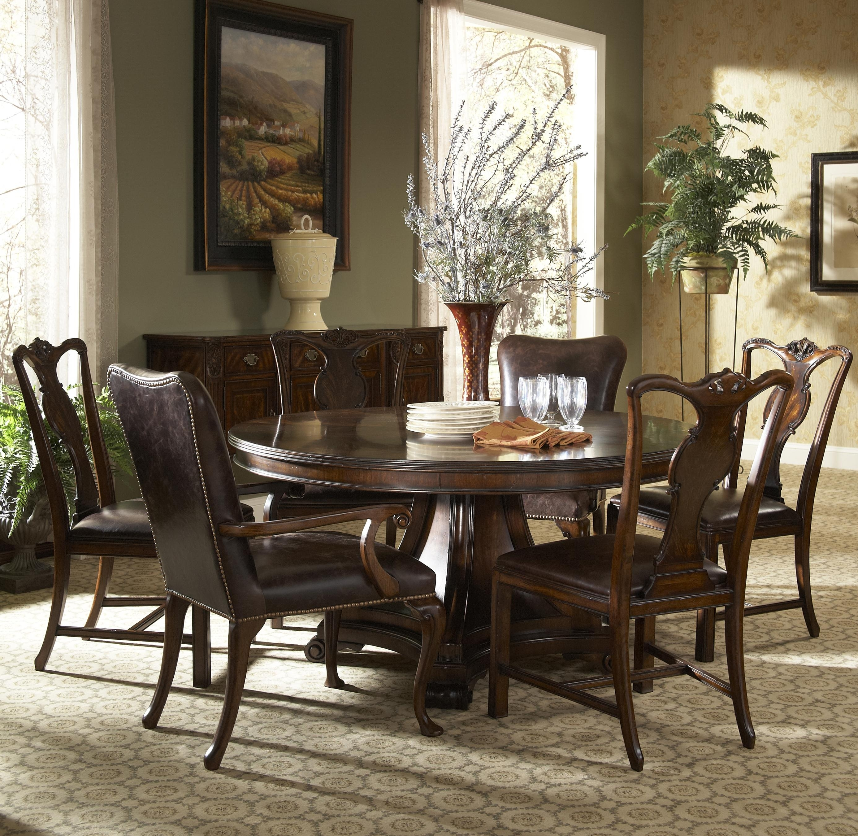 7 Piece Round Dining Table With Splat Back Dining Side Chairs And For Most Recent Parquet 7 Piece Dining Sets (View 10 of 20)